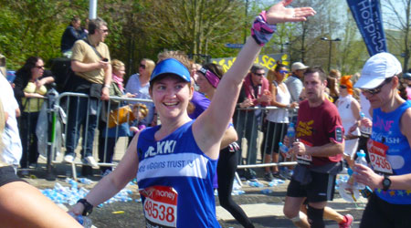 Bekki running in the Berlin Marathon