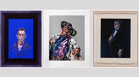 3 pictures in frames by artist Maggie Hambling