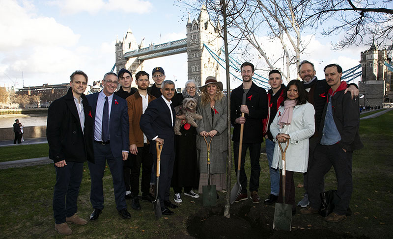Tree planting with Mayor of London and The Inheritance cast