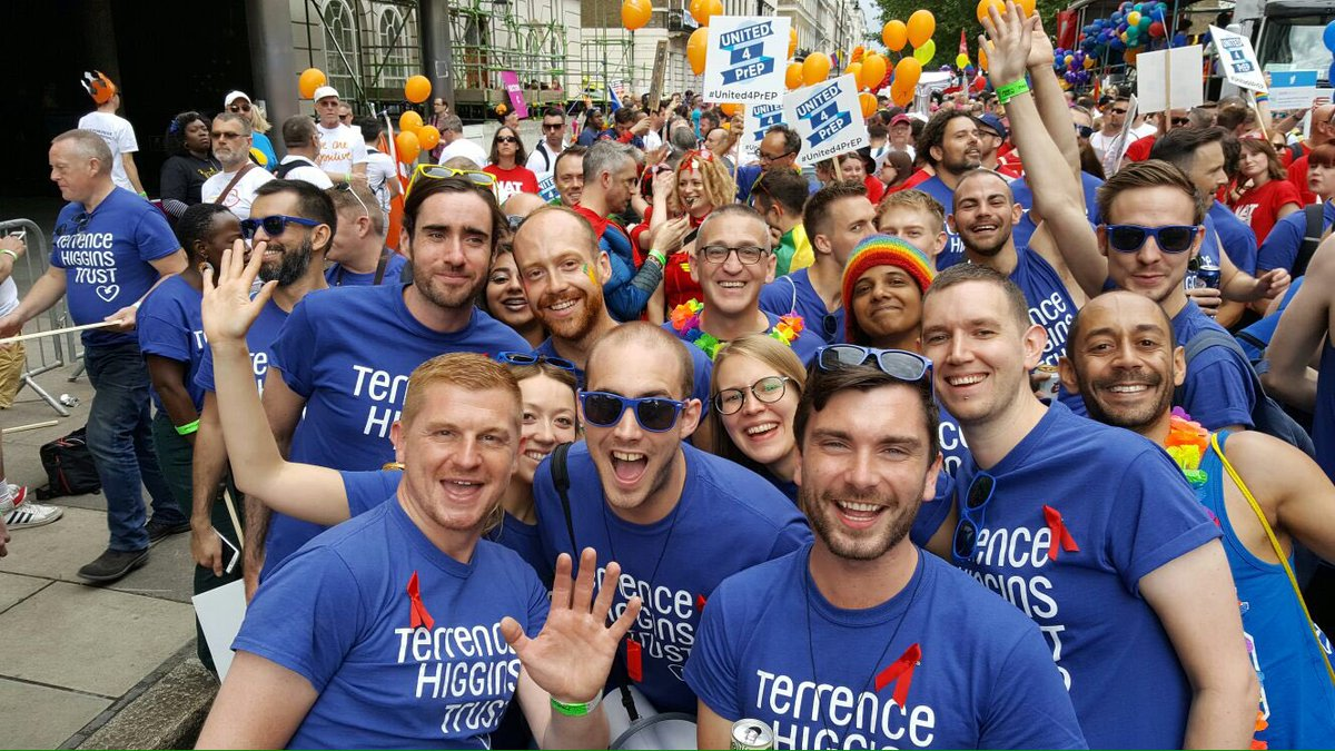 Terrence Higgins Trust group selfie in blue t-shirts
