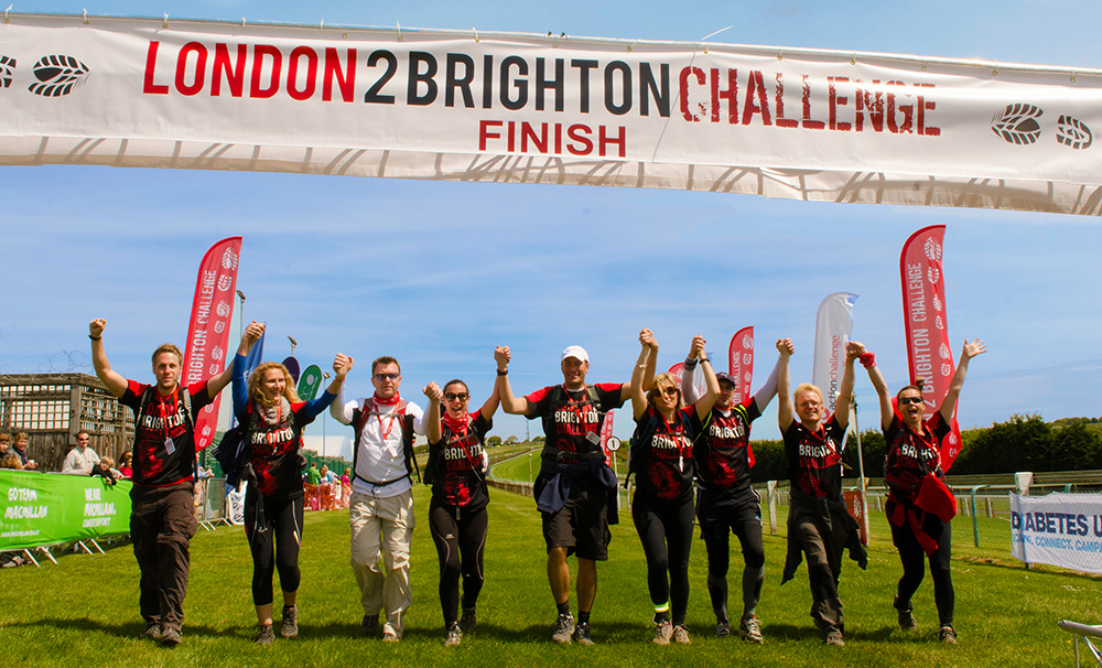 London 2 Brighton Challenge finish line