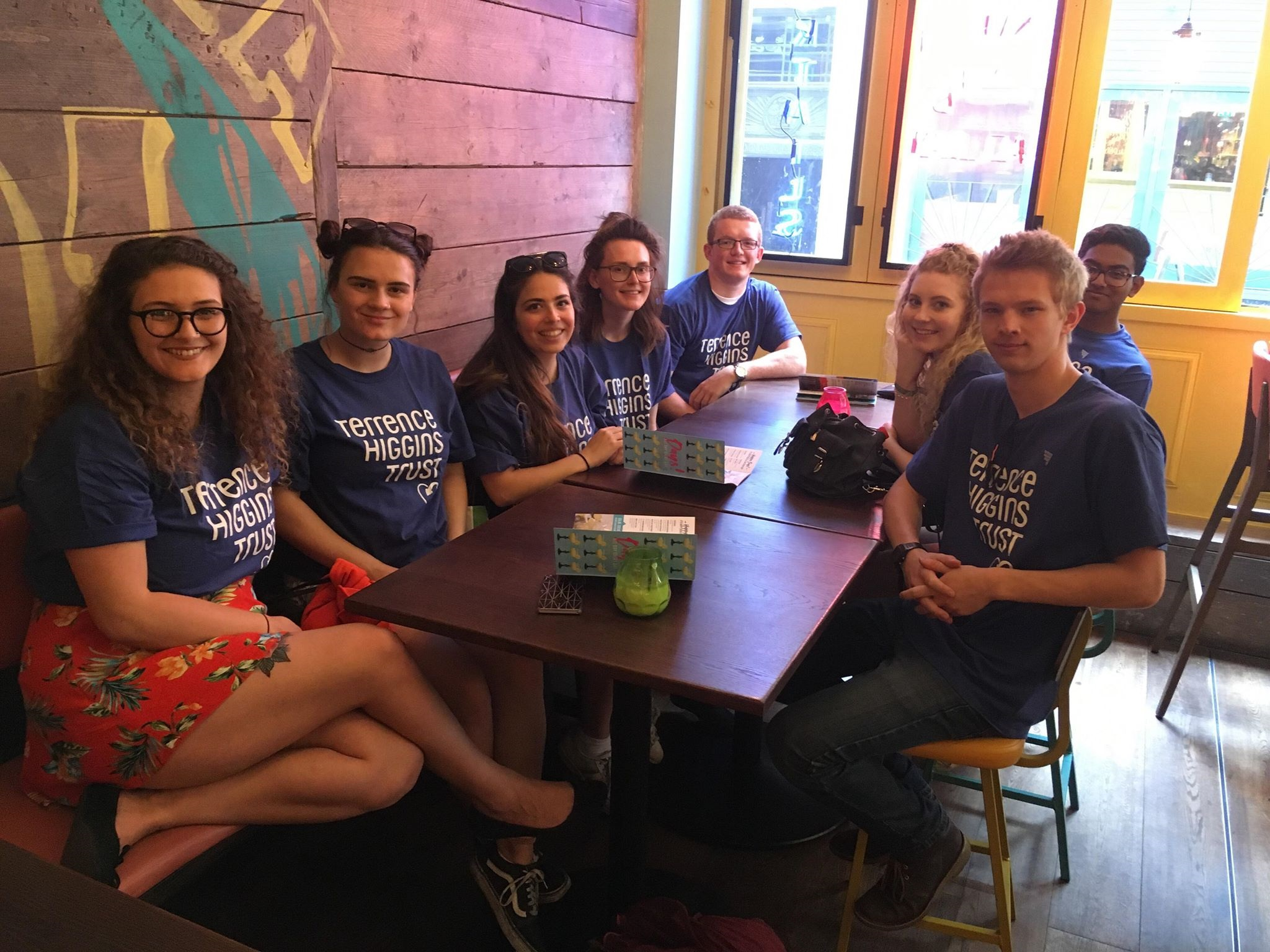 Students wearing Terrence Higgins Trust t-shirts
