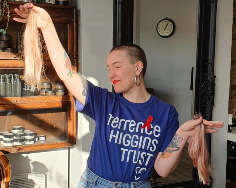 Volunteer fundraising ambassador Rosie and her shaved hair