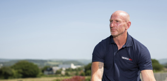 Gareth Thomas in Tackle HIV shirt