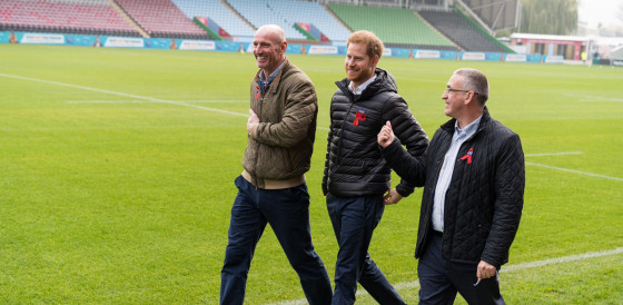 Gareth Thomas, Duke of Sussex & Ian Green walking at Twickenham