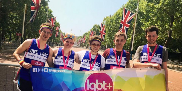 Students from the UWE LGBT society in Terrence Higgins Trust running vests