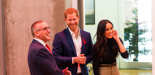 Our Chief Executive Ian Green, Prince Harry and Ms Meghan Markle in Nottingham on World AIDS Day 2017