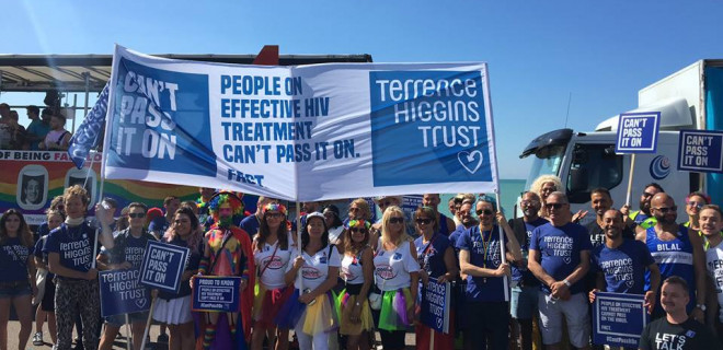 Terrence Higgins Trust supports with a Can't Pass It On banner
