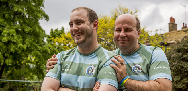 Alex and Damian in rugby kit
