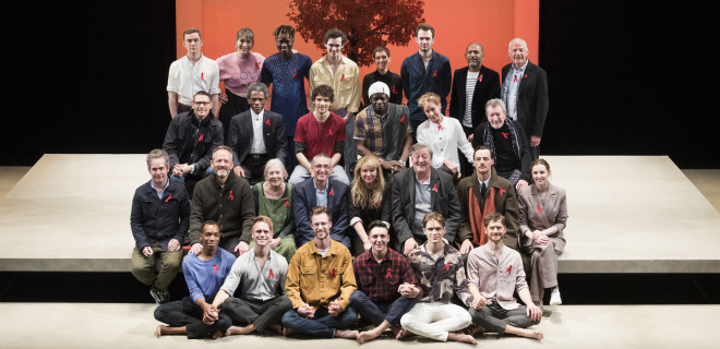 The Inheritance cast, guests and Ian Green on stage on World AIDS Day 2018