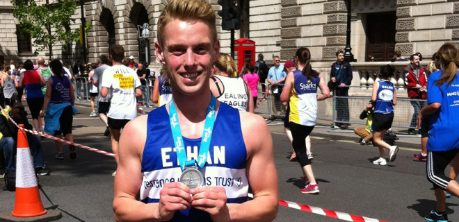 Ethan with medal for London 10k race