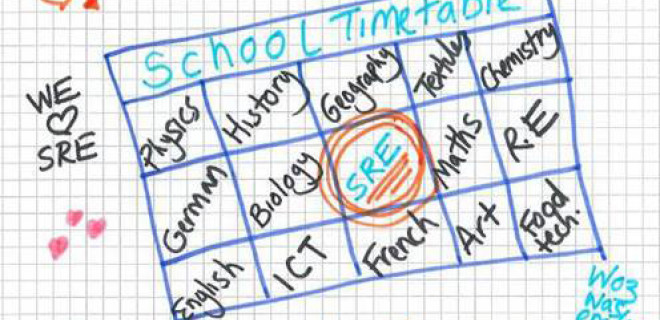 School timetable with SRE highlighted