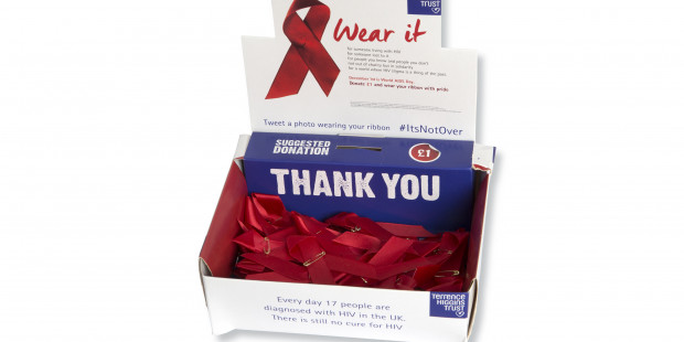 Red ribbon collection box